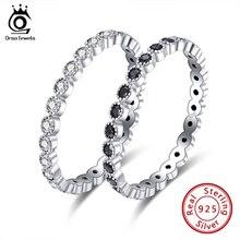 ORSA mücevher kübik zirkon yüzük kadınlar için 925 ayar gümüş yüzük üst üste takılabilir bilezik sonsuzluk Band gümüş 925 güzel takı SR145