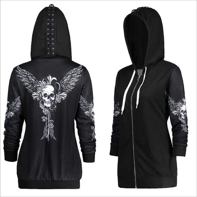 9424 #2019 Hot Selling Gedrukt Hooded Lange Mouwen Trui Skelet Wing Lace-Up Sweatshirt