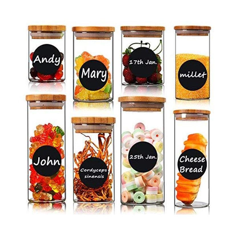 Купить с кэшбэком 72 Round Chalkboard Mason Jar Lid Canning Labels for Food Storage, Pantry, Spice Jars & Freezer!Waterproof Black Label Stickers