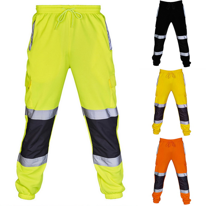 Men Sweatpants Comfortable Joggers Male Trousers New Men Fashion Patchwork Reflective Overalls High Visibility Safe Work Pants