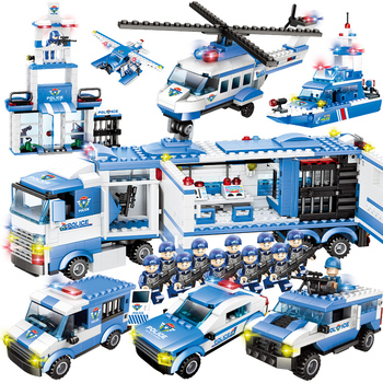 8 in 1/6 In 1 City Police Series SWAT City Police Truck Building Blocks Vehicle Car Helicopter DIY Bricks Compatible brand block