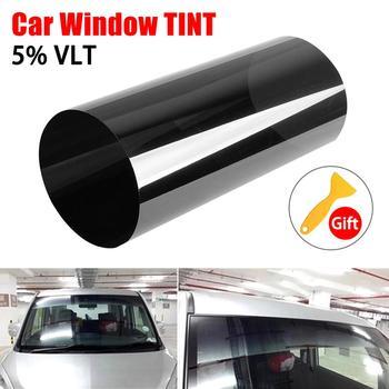 150cm x 20cm negro coche ventana láminas tinte rollo de película coche Auto hogar ventana de vidrio verano Solar UV Protector de película, adhesivo|Ventana lateral|   -