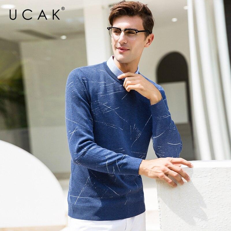 UCAK Brand Sweater Men Business Shirt Collar Twinset Pull Homme Knitwear Pullover Men Autumn Winter Cotton Jersey Hombre U1005