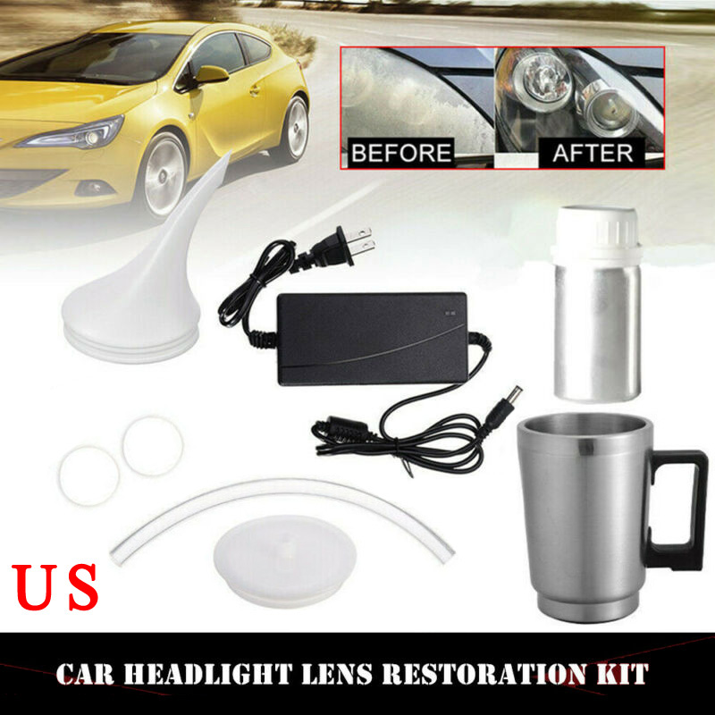 12V 60W New Car Renovation Headlight Lens Cup Holders+threaded Repair Tool Restoration Heating Atomization 50ML Restore Kit