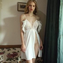 White female off-the-shoulder ruffled sleeveless sling pajamas openwork ice silk split sexy lace nightdress