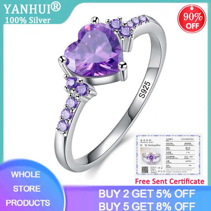 YANHUI 証明書紫色のジルコンクリスタル女性ラブリーハート形 925 シルバージュエリーロマンチックなバレンタインデーのギフト