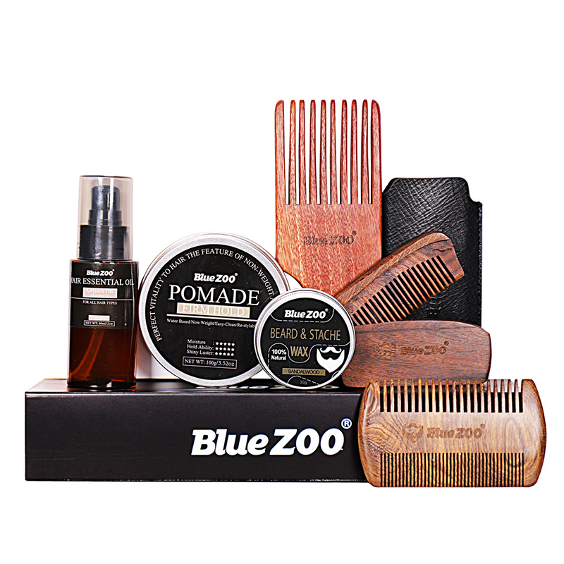 7Pcs/Set Men Beard Kit Hair Wax Beard Balm Edge Control Styling Tool Balm Comb Moisturizing Wax Styling Moustache Kit Beard Care
