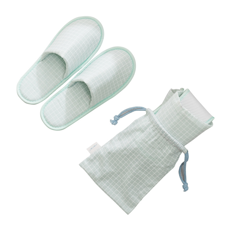 Men Checkered Hotel Travel Spa Disposable Slippers Party Sanitary Home Guest Use Fluffy Closed Toe Women Foldable Slippers Shoes
