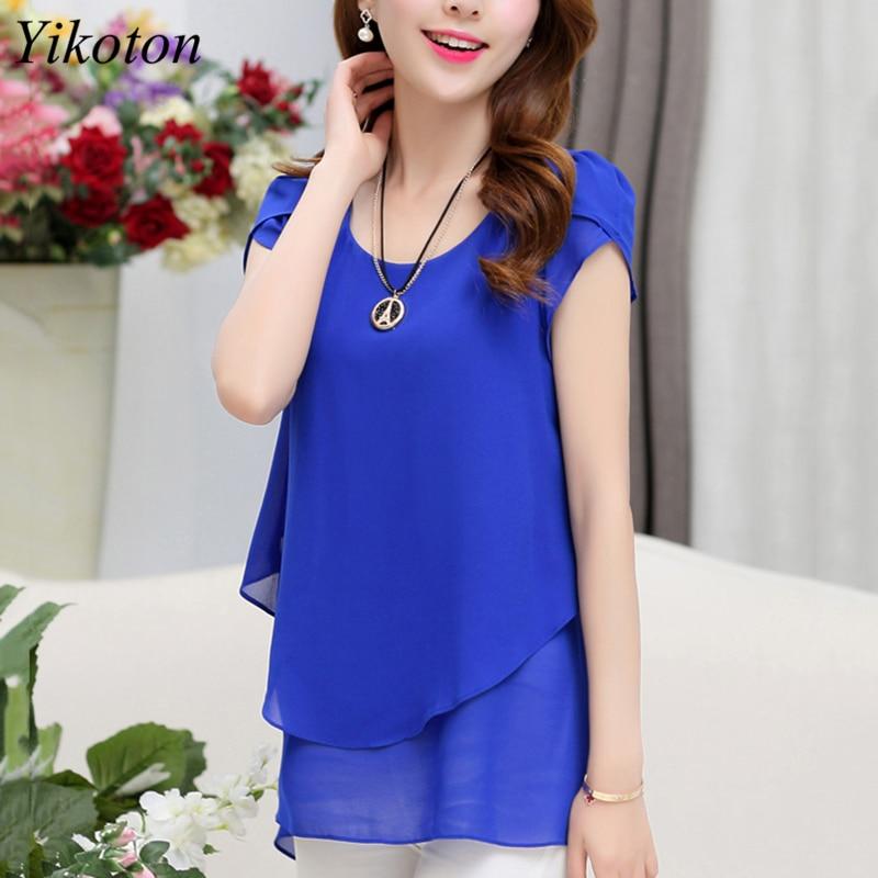 Yikoton 2021 New Summer Women Blouse Loose Shirt O-Neck Chiffon Blouses Female Short Sleeve Blouse Plus Size Shirts Tops Blusas 3
