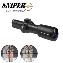 SNIPER LN 1-10x24 L Riflescope Tactical Rifle Scope Glass Etched Reticle Hunting Optics Sight red dot 20mm mounts hunting scope цена в Москве и Питере