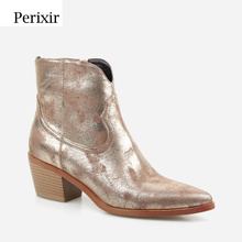 Perixir New Fashion Womens High heeled Retro Square Heel boots Zipper Concise Pointed Toe Woman Boot Golden Shoes Winter 2020