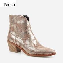 Perixir yeni moda kadın yüksek topuklu Retro kare topuk çizmeler fermuar muhtasar sivri burun kadın çizme altın ayakkabı kış 2020