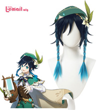 L-email wig Game Genshin Impact Venti Cosplay Wigs Gradient Blue Short Cosplay Wig Braided Wigs Heat Resistant Synthetic Hair