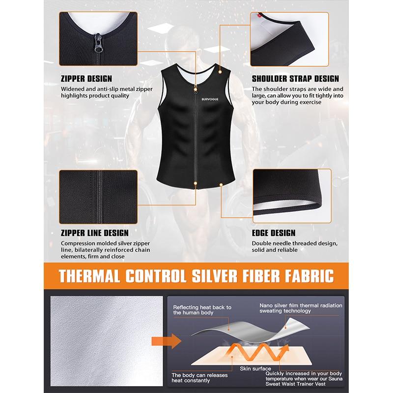 Image 4 - Burvogue Sweat Sauna Body Shaper Men Slimming Vest Thermo Neoprene Waist Trainer Corsets Zipper Shapewear Sauna Suits Tank Top-in Shapers from Underwear & Sleepwears on AliExpress