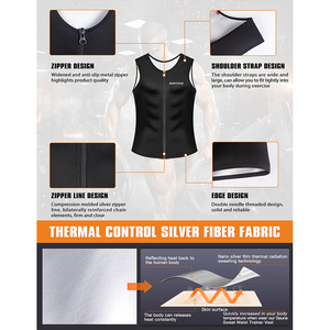 Image 4 - Burvogue Sweat Sauna Body Shaper Men Slimming Vest Thermo Neoprene Waist Trainer Corsets Zipper Shapewear Sauna Suits Tank Top