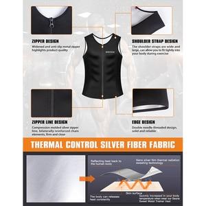 Image 4 - Burvogue suor sauna shaper corpo homens emagrecimento colete thermo neoprene cintura trainer espartilhos zíper shapewear sauna ternos tanque superior