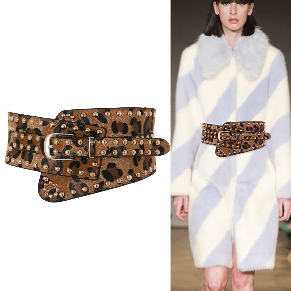 Leopard Print Jacket Female Decorative Sweater Dress Fashionable Joker Stretch Elastic Wide Rivet Belt