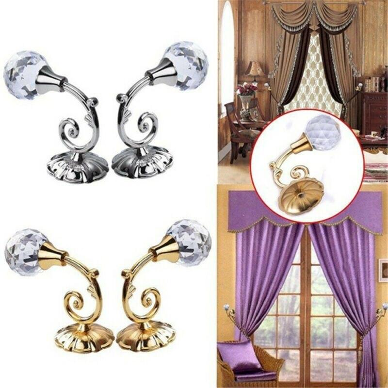 2x Metal Crystal Ball Curtain Tie Backs Door Wall Tassel Hooks Holder Hanger Hot