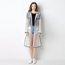Women Coat Clear Hoodie Rain Wear Waterproof Transparent Buttons Rain Coat With Pocket(China)