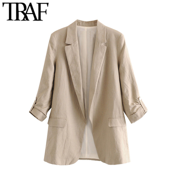 TRAF Women Fashion Office Wear Linen Blazer Coat Vintage Rolled Up Sleeve Pockets Female Outerwear Chic Tops