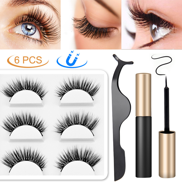 LKE Magnetic False Eyelashes Magnetic Eyeliner 3 Pairs/set Waterproof Long Lasting 3D Faux Mink Eyelash For Extensions 10 styles