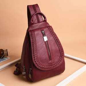 Image 3 - Women Leather Backpacks Zipper Female Chest Bag Sac a Dos Travel Back Pack Ladies Bagpack Mochilas School Bags For Teenage Girls