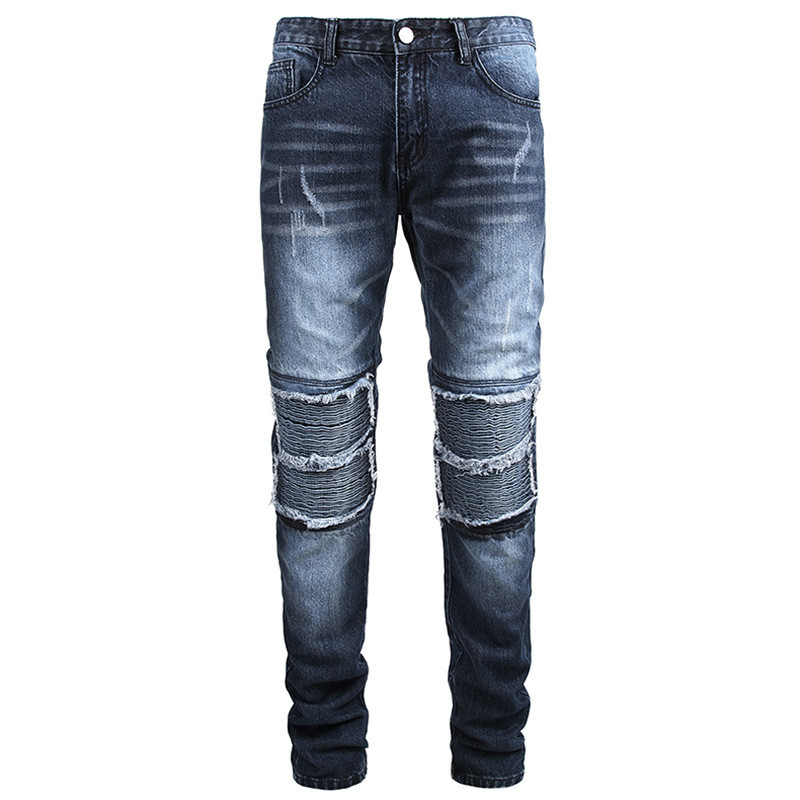 KIMSERE Men Fashion Ripped Biker Jeans Pleated Motorcycle Denim Trousers Pants For Male Washed Blue Straight Fit Plus Size 28-42