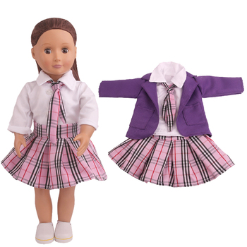 18 inch Girls doll dress Purple school uniform American newborn clothes Baby toys fit 43 cm baby dolls c791 недорого