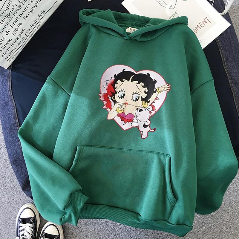 Plus Size sweatshirt Women Summer 2021 Spring Oversized Cute Print hoodie Cute Hip hop Kawaii Harajuku womens tops clothes 25