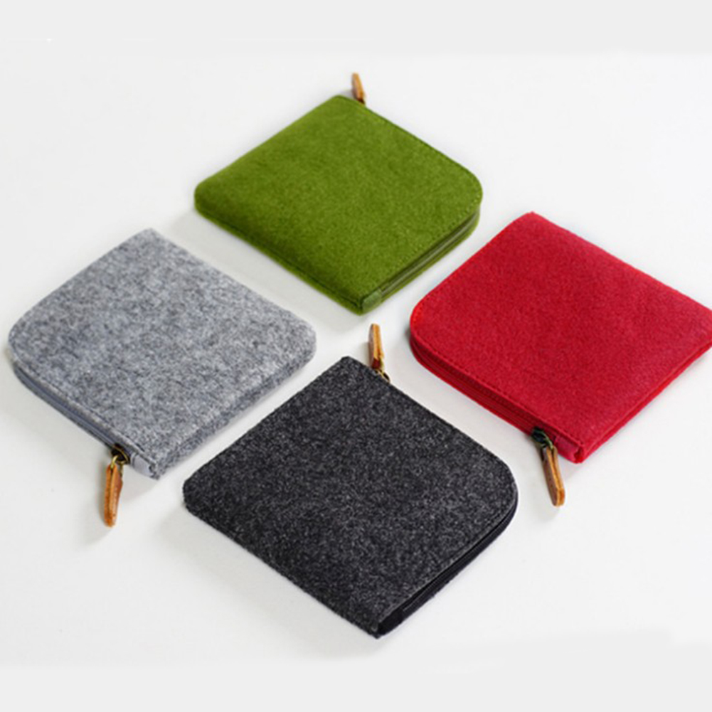 1PC Unisex Felt Purse Card Key Mini Purse Pouch Bag Small Zipper Coin Purse Card Holder Wallet Four Colors Available Wallets