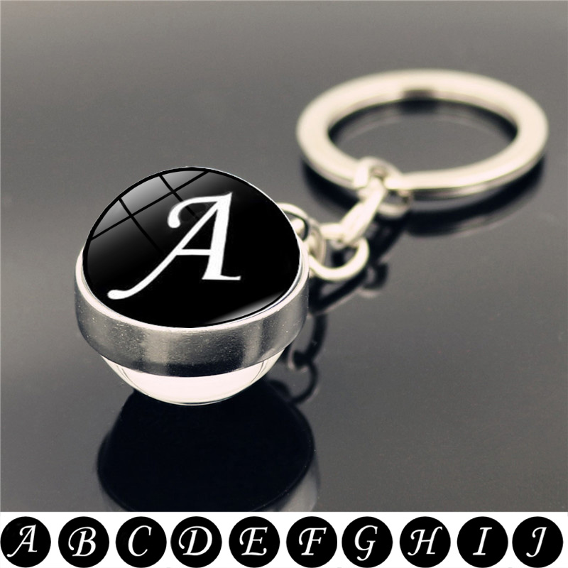 26 English Letters Keychain Double Side Art Photo Glass Ball Pendant Simple Initial Name Couple Key Chain Holder Gifts for Women