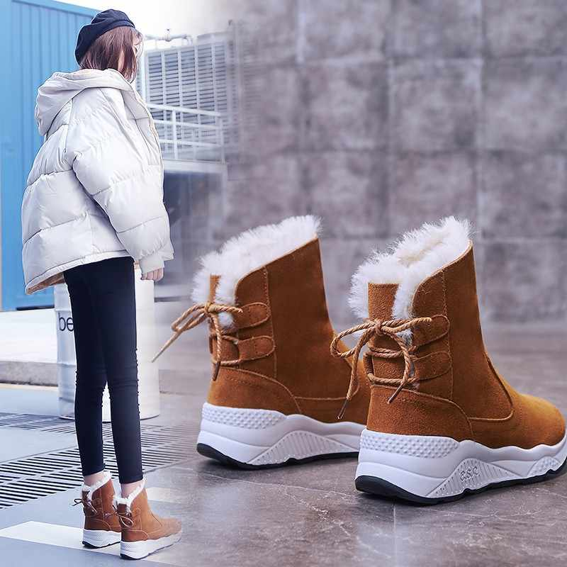 STAN SHARK Winter Women's Suede Snow Boot Fashion Lace Up Warm Winter Boots Ankle Boots For Women Shoes Thick Sole Woman Boot