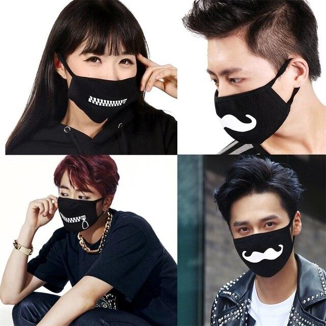 5pcs Kpop Mouth Mask Women Men  Cartoon Teeth Funny Face Masks For Boy Girl Washable Cotton Dustproof Mask Wholesale mascarilla 2