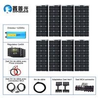 BOGUANG 800w 12v solar panel system including 8 pcs 18V 100w flexible solar panel controller 2000w flexible solar panel, inverter connector, cable