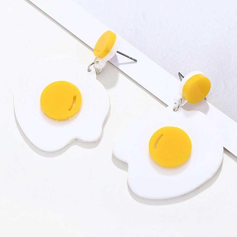 Creative טרי מטוגן ביצת עגילי אקריליק יפה קריקטורה לבן מטוגן ביצים מצחיק עגיל נשים אביזרי תכשיטי מסיבת מתנה