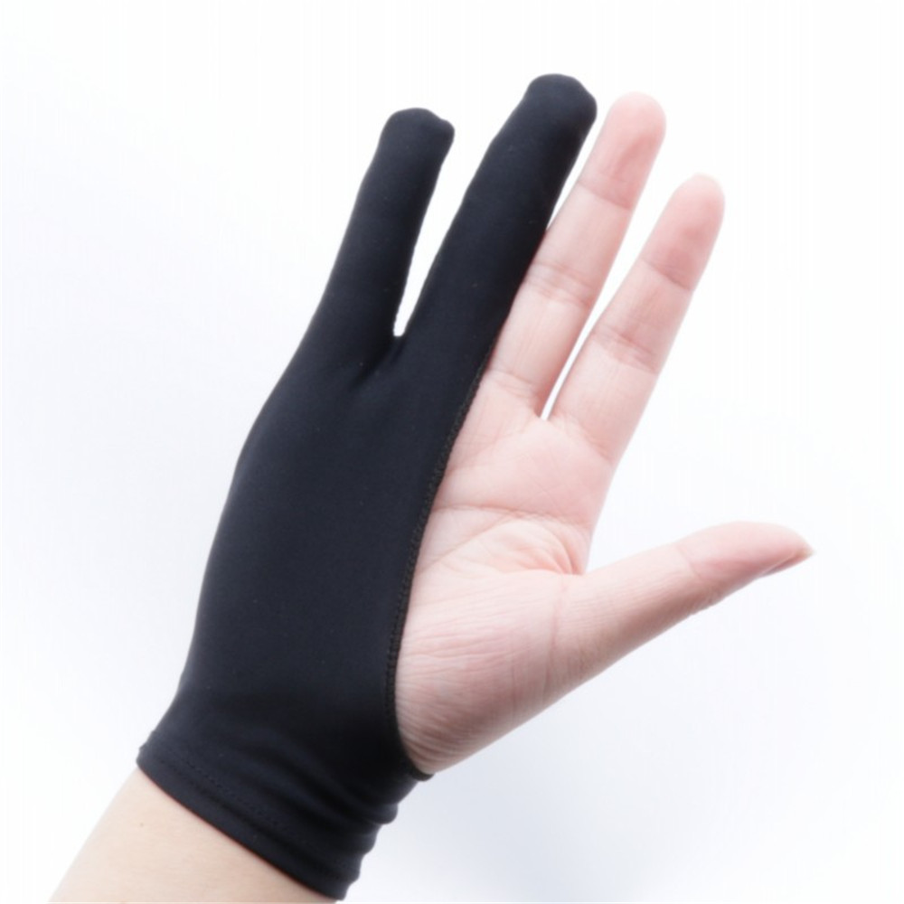 Black 2 Finger Anti-fouling Gloves Digital Tablet Writing Glove for School Anti Touch Hand Drawing for Arts Sketch Oil Paintings