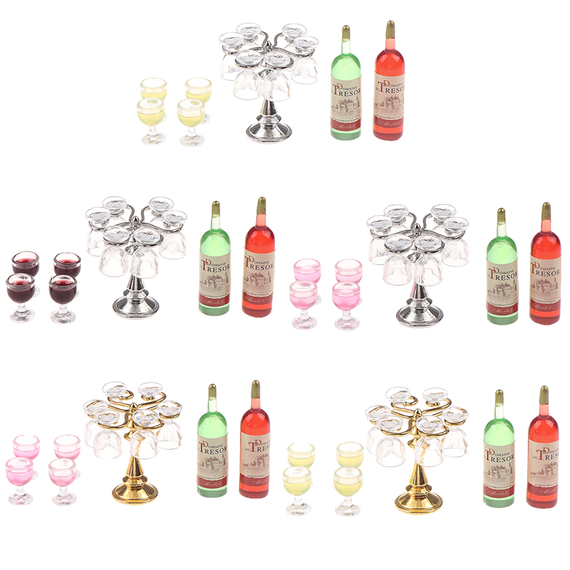1 Set Miniature Dollhouse Bar Counter Mini Wine Bottle Champagne Glass Holder Rack Play Kitchen Furniture