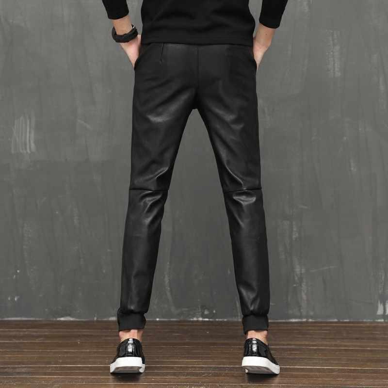2020 Fashion Heren Lederen Harembroek Casual Comfort Rekbare Mannelijke Broek Full Length Elastische Taille Faux Lederen Skinny Broek