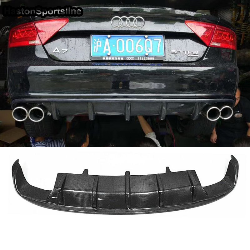 <font><b>A7</b></font> S7 Carbon Fiber <font><b>Rear</b></font> Bumper Lip <font><b>Diffuser</b></font> for <font><b>Audi</b></font> <font><b>A7</b></font> S7 S-line 2012-2016 Car Styling (Not fit standard <font><b>A7</b></font>) image