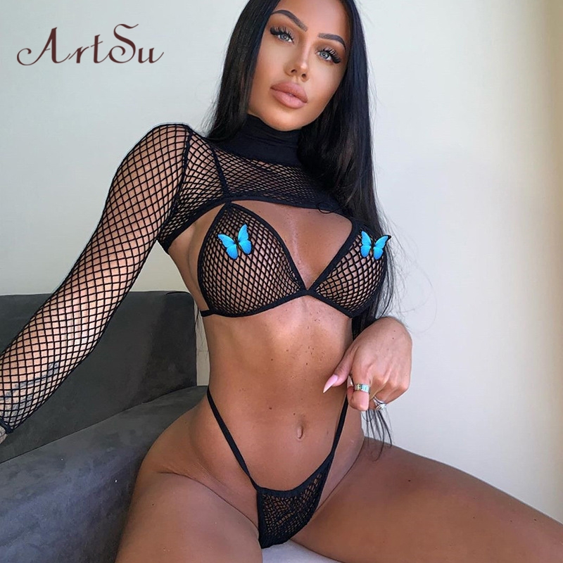 Artsu Fishnet Mesh 3 Pieces Bra Set Thong Crop Top Beach Party Swimwear 2020 Spring Summer Clothes Club Rave Festival ASSU70287