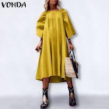 Party-Dress Maxi Holiday Bohemian Plus-Size Robe Vestidos Casual VONDA Femme 3/4-Sleeve