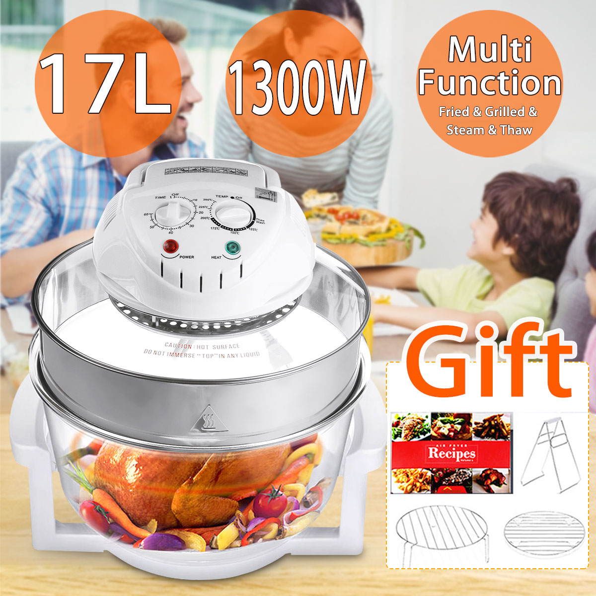 17L Convection Oven Roaster Air Fryer 1300W 110V-240V Turbo Electric Cooker Multifunction Infrared Oven With Recipe Gift