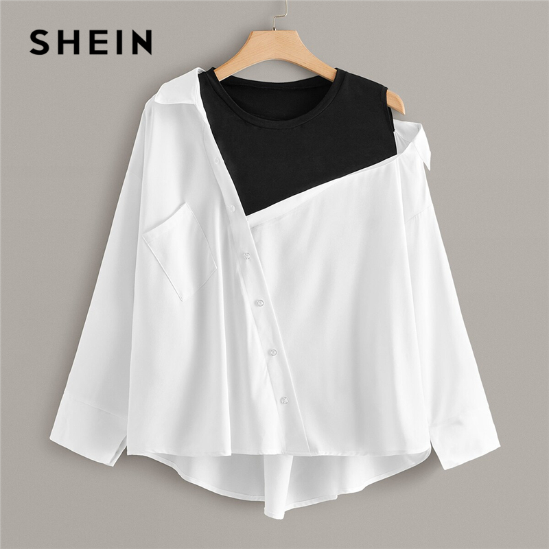 SHEIN Plus Size White Contrast Panel Asymmetrical Neck Blouse Women Tops Autumn Pocket Colorblock O-Neck Casual Top Blouses