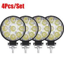 12V rond carré lumière LED phare de voiture antibrouillard pour Auto hors route pour moto LED étanche feux de travail automatiques