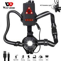 WEST BIKING-Lámpara LED para bicicleta, ajustable en el pecho, con carga USB, para deportes de exterior y correr