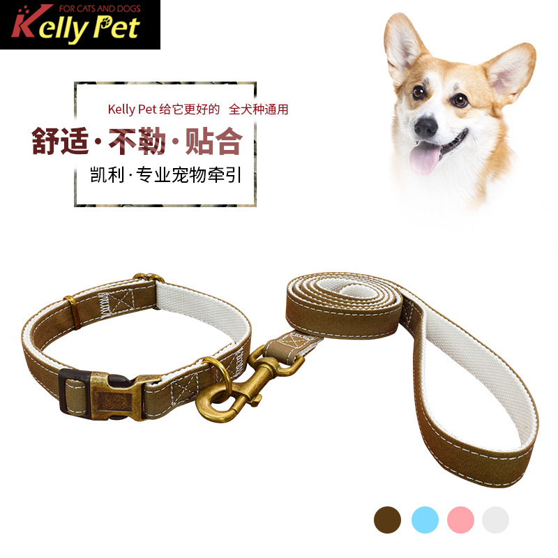 Pet Dog Collar Nylon Dog Hand Holding Rope Canvas Neck Ring Release Buckle