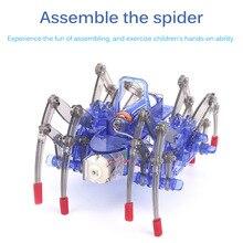 Для детского рукоделия Электрический робот паук игрушка-головоломка Электрический ползать животных наука игрушка модель электронная сбор...