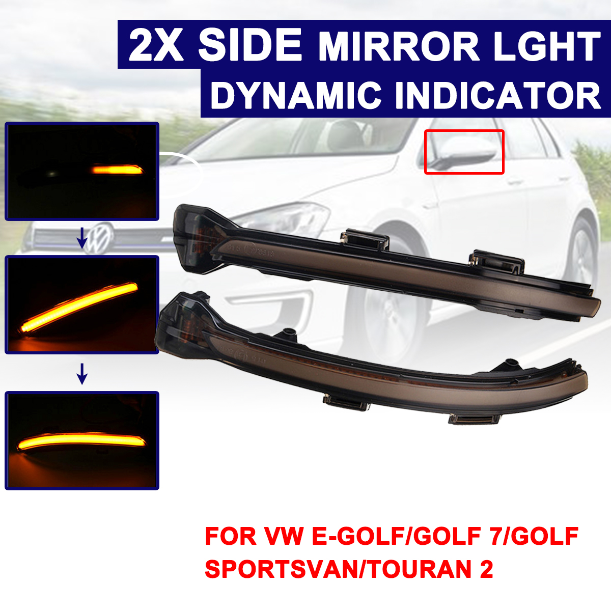 Highlight LED Car Dynamic Turn Light Rearview Mirror Signal Lamp For Volkswagen Golf 7 MK7 2013+ For VW Touran 2016+