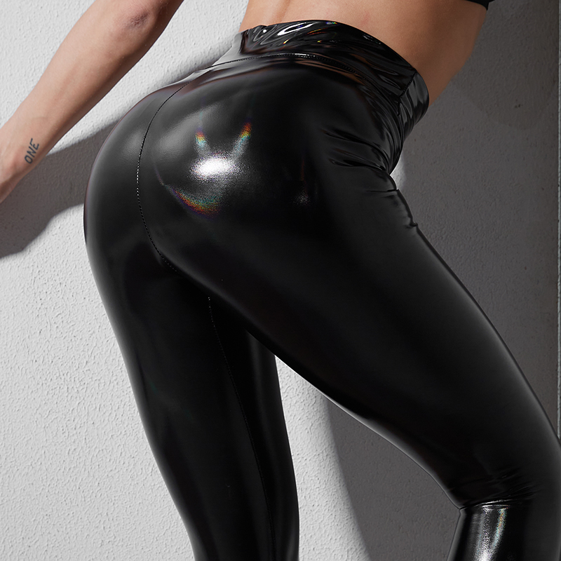 Thin Leather Leggings Woman Black High Waist Fitness Legging Strethcy Shiny Sport Bottoms Trousers Sexy Plus Size Womens Leggins