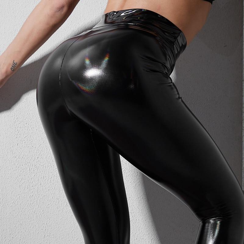 Thin Leather Leggings Woman Black High Waist Fitness Legging Strethcy Shiny Sport Bottoms Trousers Sexy Plus Size Womens Leggins